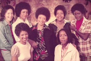 A photo from 1974 of the Adelphi 7 Sisters