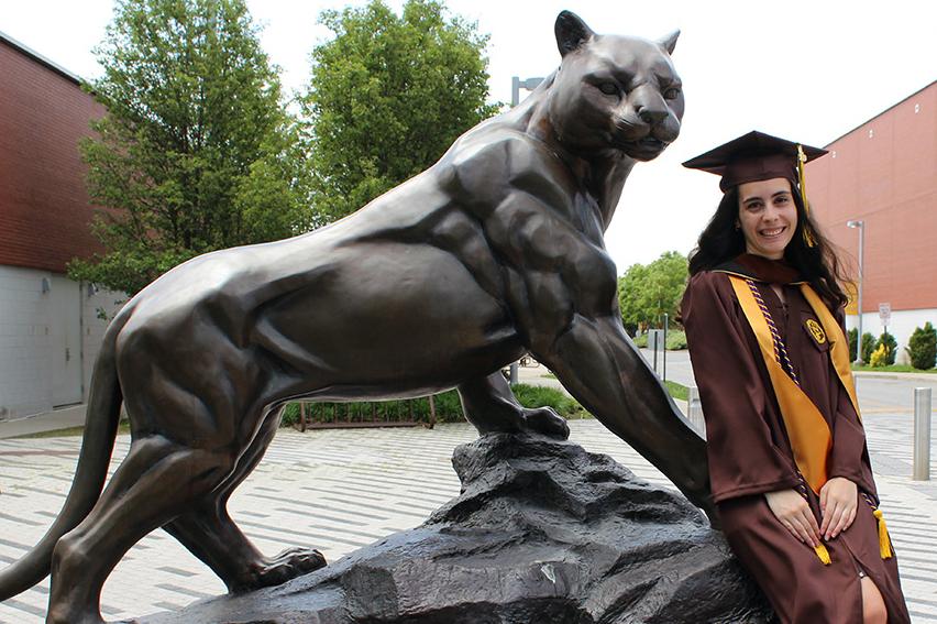 Adelphi panther statue graduation shoot