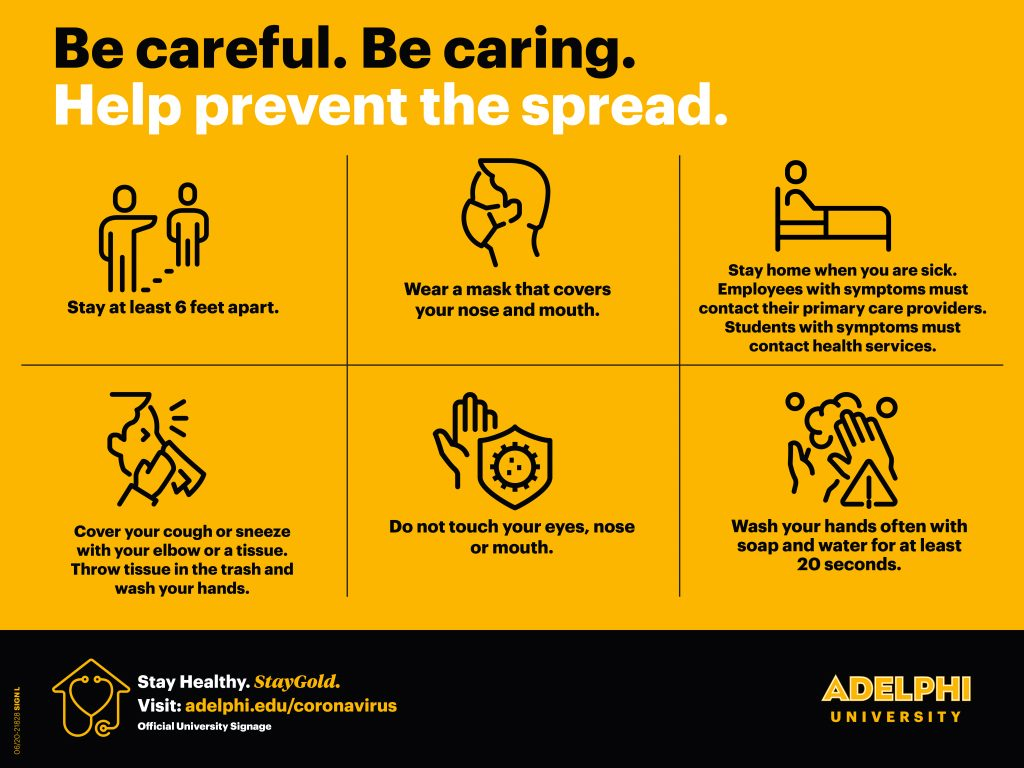 Be careful. Be Caring. Help Prevent the Spread. Horizontal Layout.
