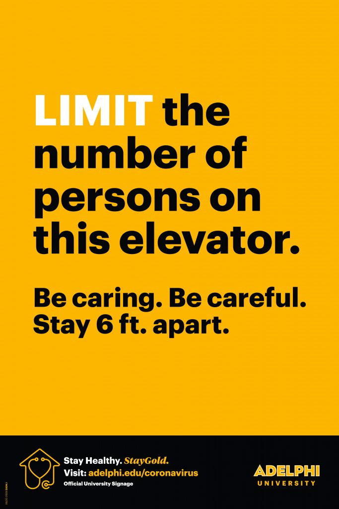 Limit the number of persons on this elevator. Be caring. Be careful. Stay 6 feet apart.