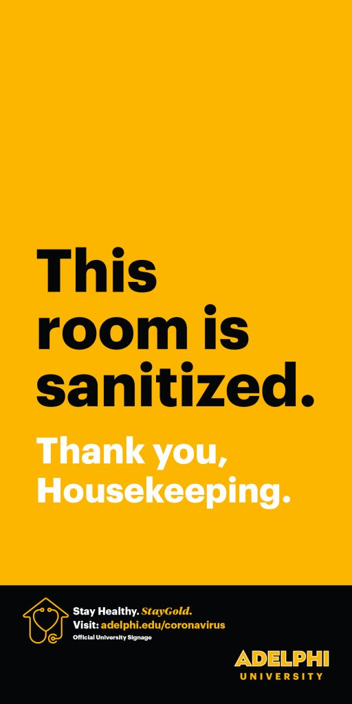 This room is sanitized. Thank you, housekeeping.