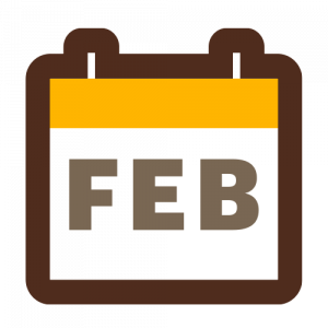 Calendar showing the month of February