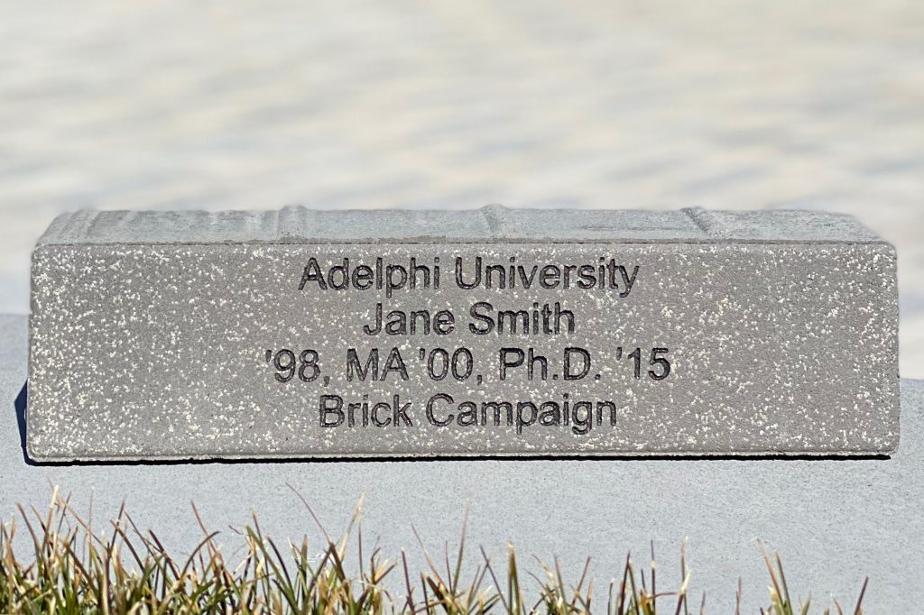 Adelphi Brick Fundraiser: Shows an example of the engraved brick