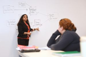 Inside a Social Work classroom at Adelphi. A professor in front of a whiteboard while lecturing.