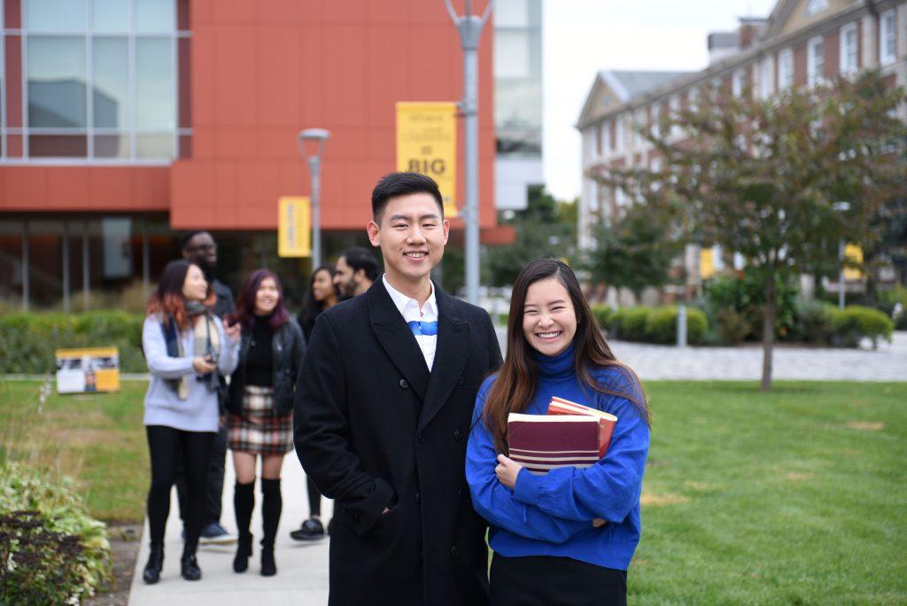 International Students on Adelphi's campus.