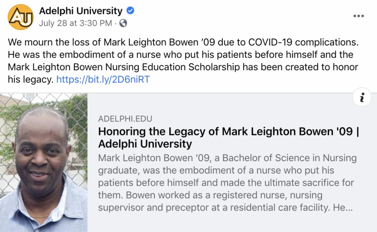 A Facebook Post Honoring the memory of Mark Leighton Bowen