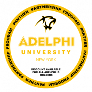 Logo for Panther Partnership: Discount available for all Adelphi ID holders.