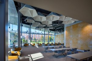 View of the seating near floor-to-ceiling windows in the UC