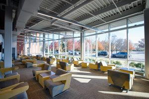 Seating area in the student lounge on the first floor of the the UC