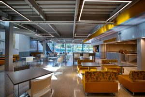 Seating area in the UC Dining Hall on the Lower Level