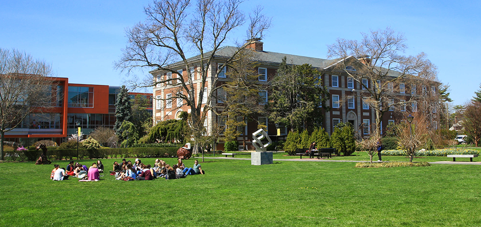 Levermore Hall with students on the lawn