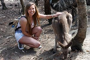 Adelphi Student with kangaroo in Australia