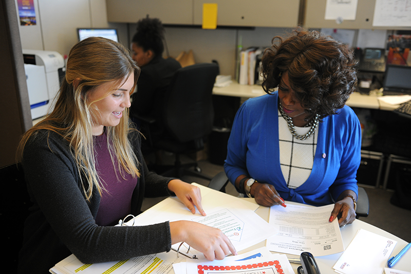 Adelphi student interns at the Urban League