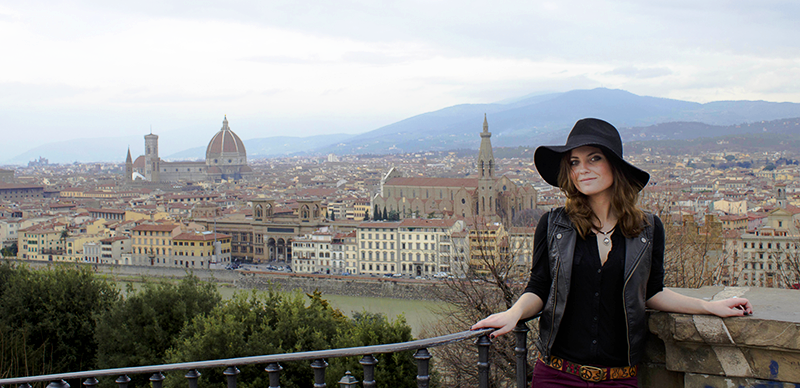Adelphi in Florence Program - Student overlooking the city landscape