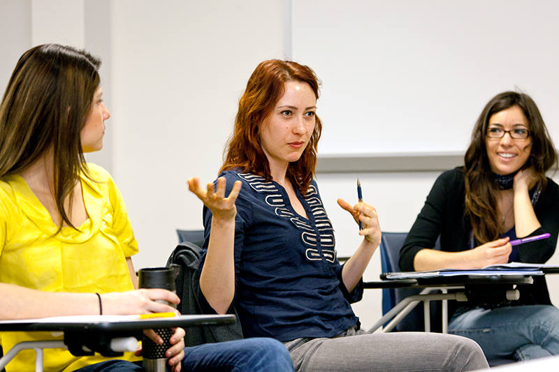 Adelphi psychology student answers a question in class
