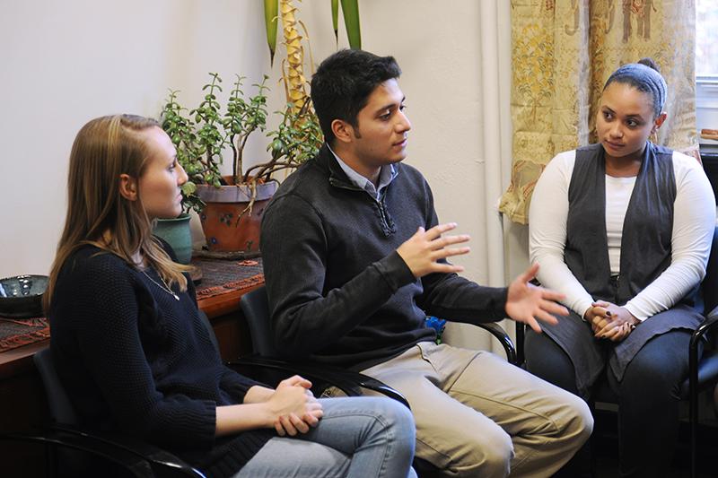 Adelphi undergraduate psychology students talking