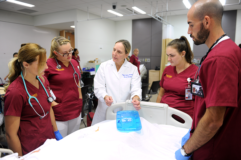Adelphi nursing students during clinical demonstration.