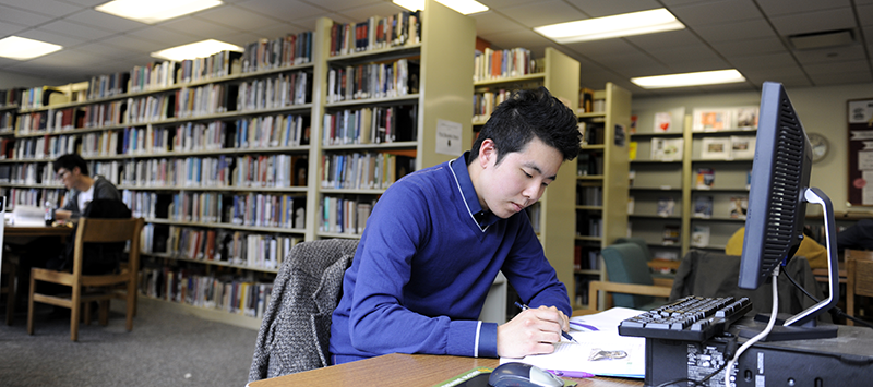 Student studying at the Adelphi University Manhattan Library
