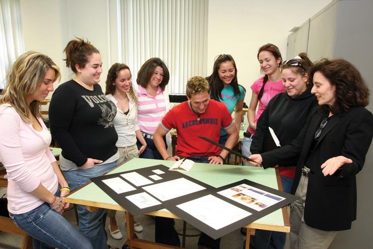Adelphi University graphic design class in the studio