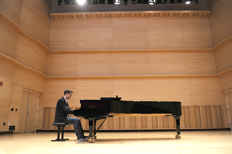 Adelphi pianist on stage