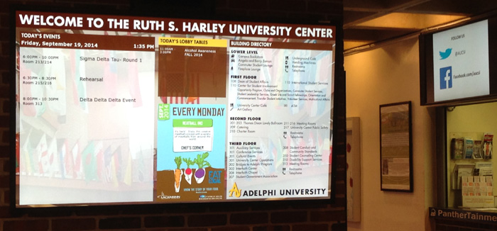 Example of two different sized digital signs used in the University Center.
