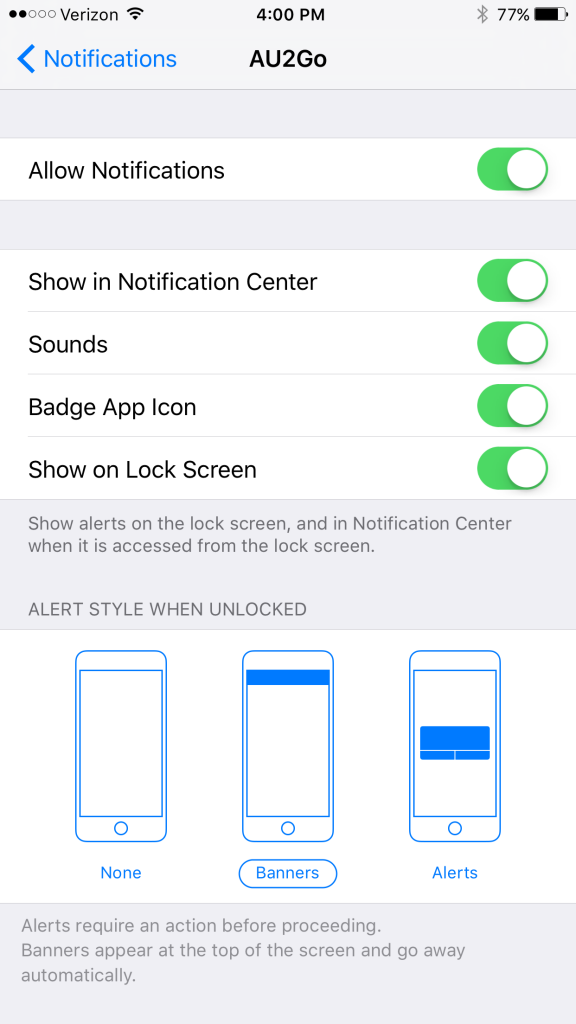 Notifications AU2Go iOS