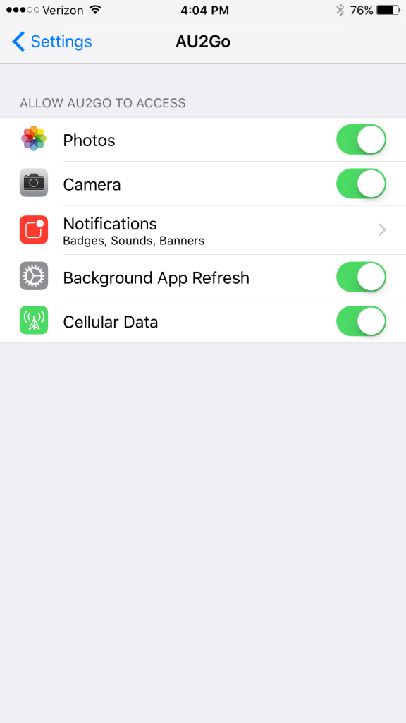 iOS AU2Go settings