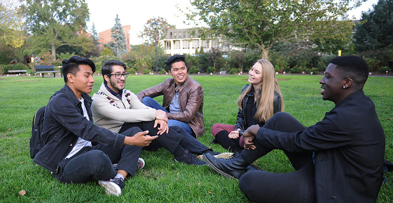 A diverse group of Adelphi students talk on the lawn
