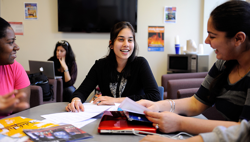 Adelphi students laugh and enjoy themselves during class