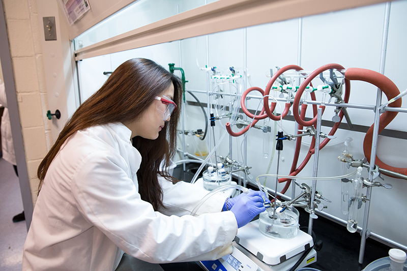 Student in the lab working at Adelphi