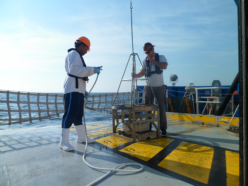Working on the back deck of a ship