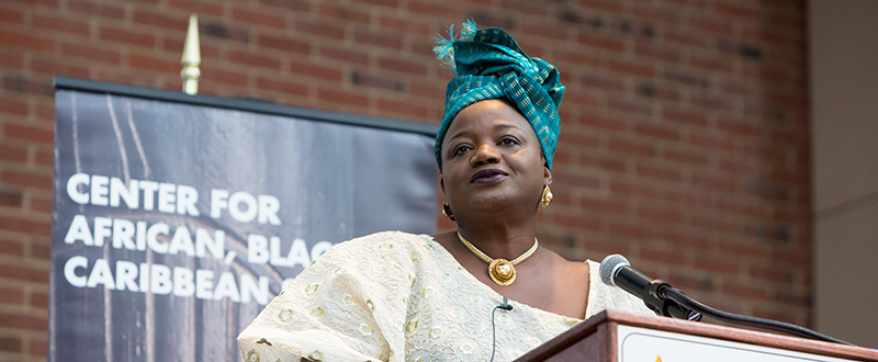 Speaker at podium - Adelphi Center for African Black and Caribbean Studies