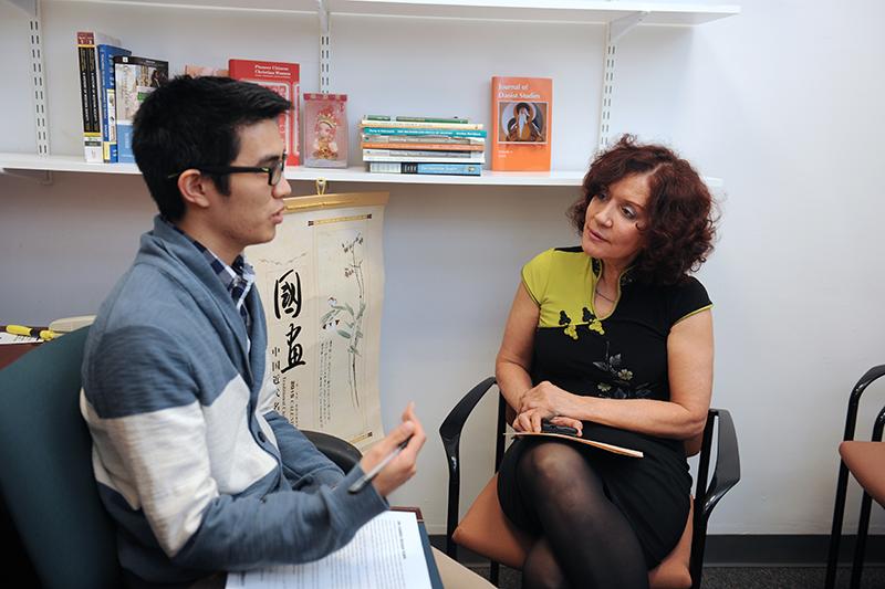Professor Zaccarini talks with asian studies student