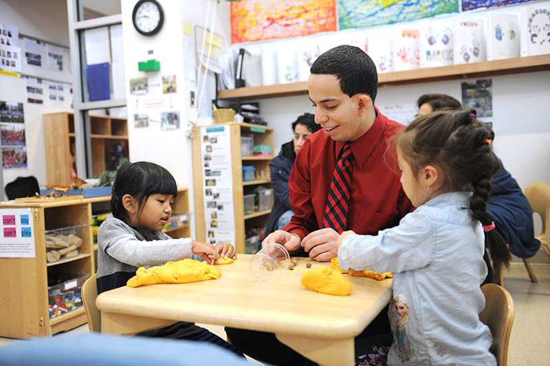 Adelphi student teaches toddlers sensory play with clay