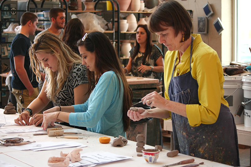 sculpture class at Adelphi - clay work