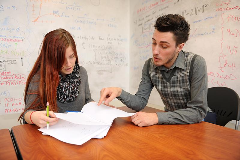 Adelphi students studying mathematics