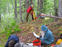 Students taking notes and mapping using an electronic theodolite (ELT).