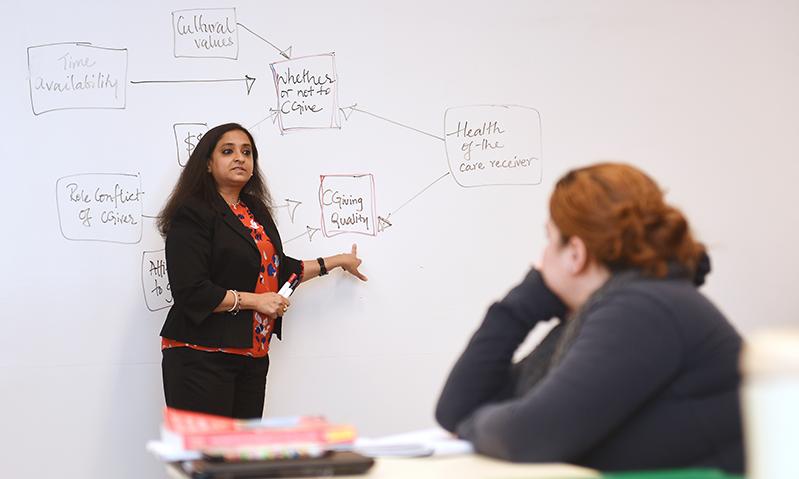 Subadra Panchanadeswaran teaching social work course at Adelphi in front of whiteboard