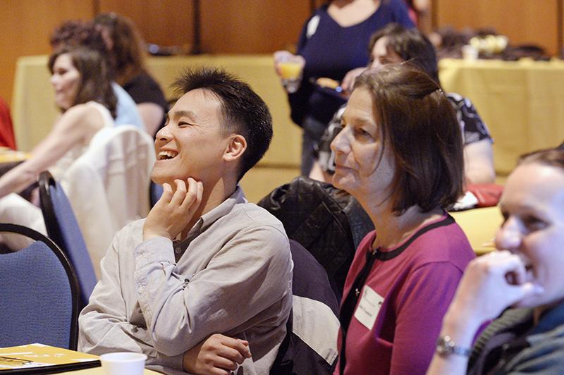 Laughter at a social work workshop