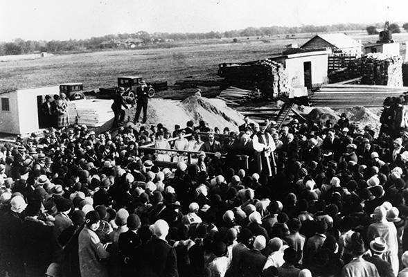 Adelphi University 1928 groundbreaking in Garden City New York.