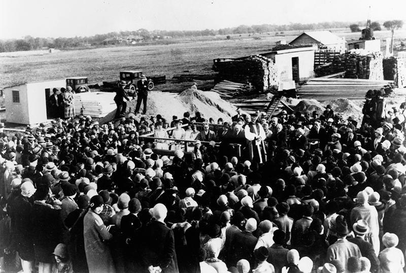 Adelphi University 1928 groundbreaking, Garden City NY.