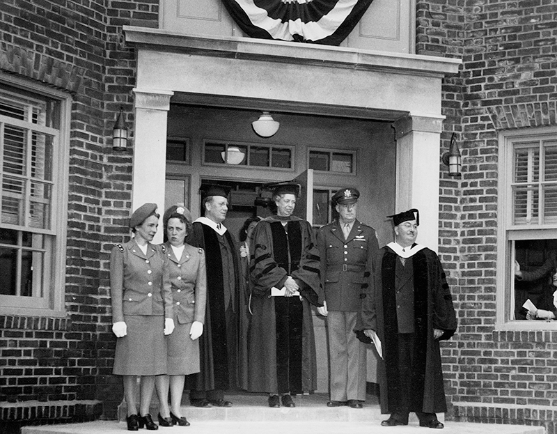 1944 - First Lady Eleanor Roosevelt speaks at Adelphi University