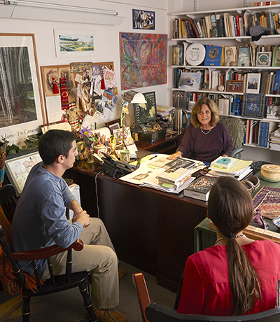 Diane Della Croce's office meeting with two honors students