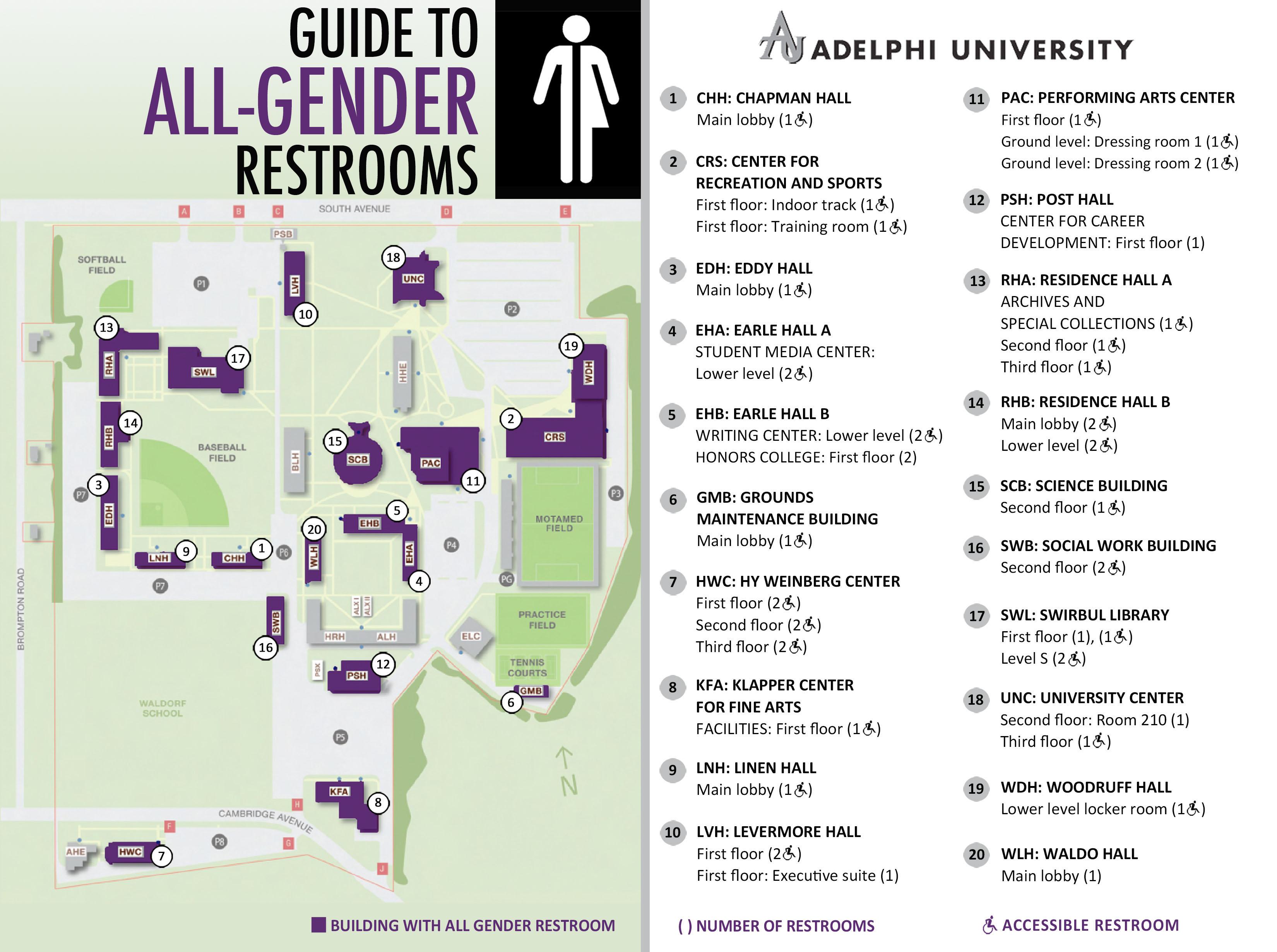 all-gender restrooms | gender neutral bathrooms | adelphi university