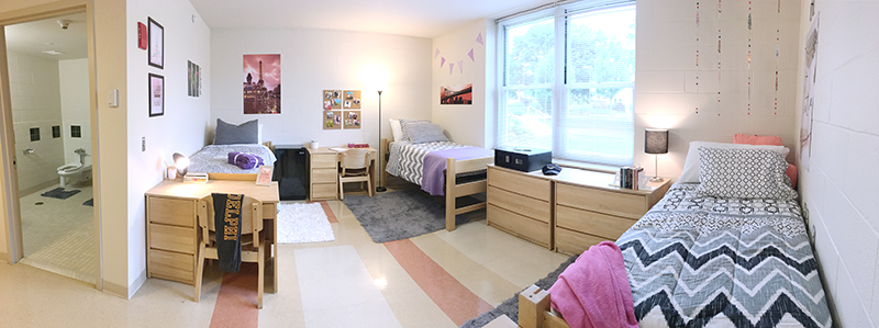 Adelphi dorm room interior.