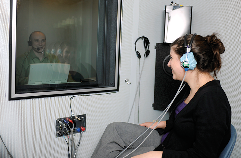 Audiology students working in the lab
