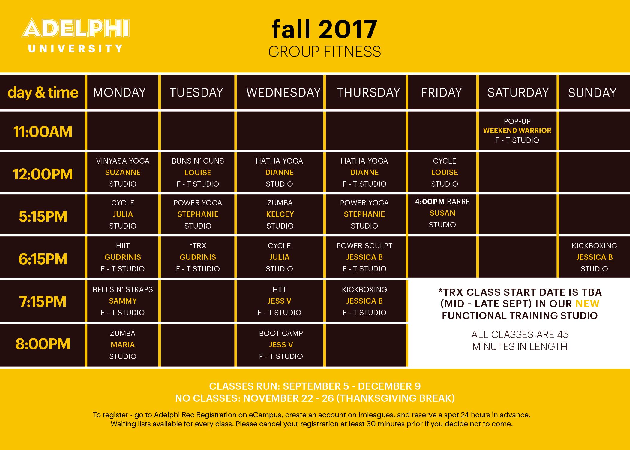group fitness adelphi university