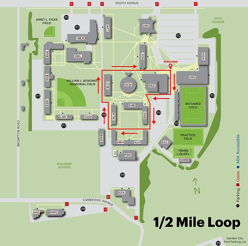 1/2 Mile - Adelphi Campus Walking Map - Garden City NY