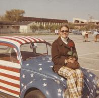Diane J. Powell (née Badagliacca) B.S.'72, M.B.A '89, A.N.P. '98 on a vintage car