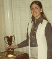 Diane J. Powell (née Badagliacca) B.S.'72, M.B.A '89, A.N.P. '98 with trophy